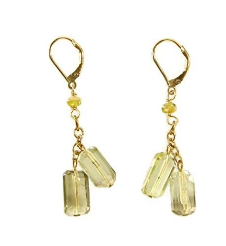 Bloomingdales Yellowish Green Glass Chrysoberyl Bead Dangle Earrings Chardonnay