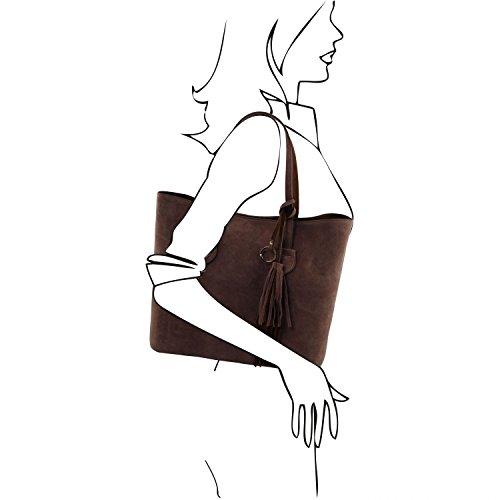 Tuscany Leather TL Bag Bolso Shopping en piel agamuzada Marrón oscuro Bolsos de asa larga Marrón oscuro