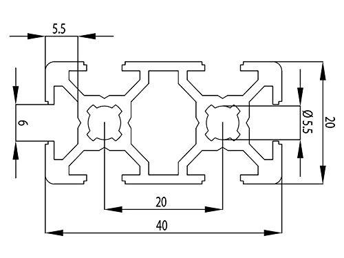 5 scanalature Profilo in alluminio 20/x 40 mm,/di tipo I taglio da 50-2000/mm