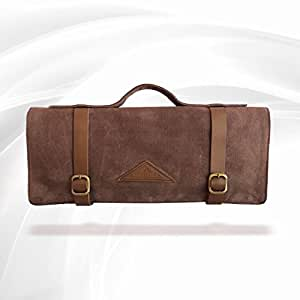 PREMIUM Vintage Style Knife Roll, Hand-Waxed Canvas, Dark Oak, Superior Craftsmanship & Functionality, Priceless Treasure For Kitchen or as a Gift