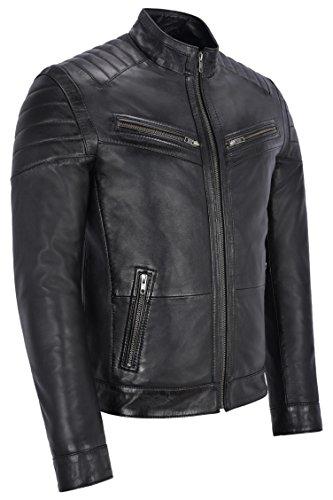 Da Uomo Giacca Ban In Biker Stile Pelle 8334 Collar Nuovo Black Stilista Tracolla A Trapuntata Vera Twtgxt