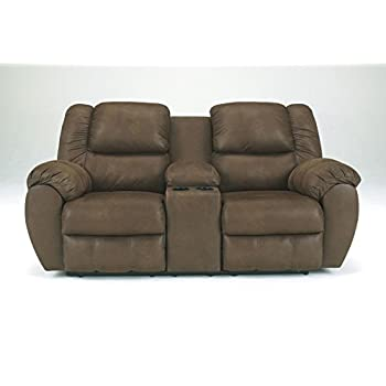 Ashley Quarterback Double Polyester Reclining Loveseat in Canyon