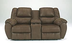 """Benchcraft Quarterback 3270194 79"""" Double Reclining Loveseat Including Console with Split Back Cushion Console Plush Padded Arms and Stitched Detailing in"""