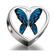 Exotic Blue Butterfly Heart Photo charm beads fit pandora bracelets