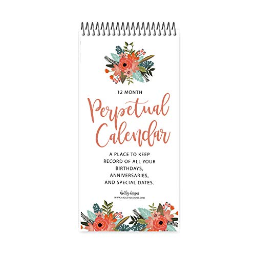 Floral Perpetual Birthday, Anniversary, Special Event Reminder Calendar Book Journal for Important Family Date Day Remembrance Wall Hanging, Mom Dutch Happy Bday Birthdate Gift Card Planner Organizer