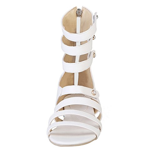 Dear Time Women Cut Out Gladiator Sandals Flat Strappy Ankle Boots White