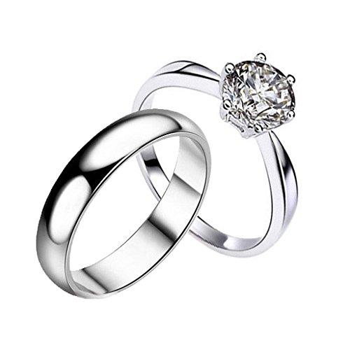 Gullei. com personalizadas en platino elegante de anillos de boda para 2
