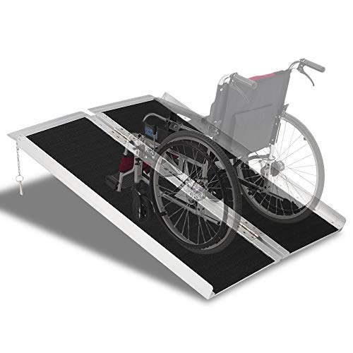 Mefeir 3' Wheelchair Ramps Threshold,Portable 3ft Aluminum for Home Steps Doorway Stairs,Handicap House Mobile Porch Multifold Temporary,No-Sild Lightweight Scooter Ramp (For Lifts Sale Car Portable)