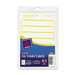 Avery Print or Write File Folder Labels for Laser and Inkjet Printers, 1/3 Cut, Yellow, Pack of 252 (5209)