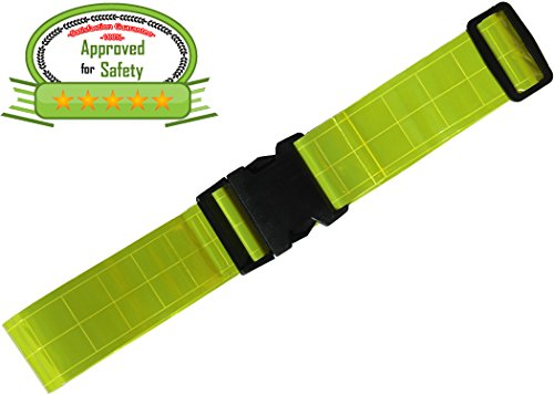 Army Reflective Belt Military Made from Reflective Strips for Running Jogging Cycling Walking Biking. Lightweight nylon easily adjustable Fits Comfortably Over Sports Gear and Clothing. Yellow Safety Reflective Band.