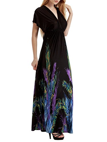 Feather Maxi Dress (Bikinx Womens Boho Beach Dress Empire Waist Long Maxi Dress Batwing Sleeve Wrap,Black With Feather,US 2X(14W-16W))