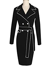 Eloise Isabel Fashion dress mulheres turndown collar cintura do vintage botões de manga longa bodycon dress vestidos de festa escritório dress