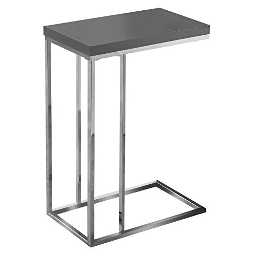 Monarch Specialties I 3018, Accent Table, Chrome Metal, Glos