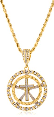 Goldtone or Silvertone - Sandblast Cross Within Round Pattern Pendant 5mm 30 Inch Rope Chain Necklace (Goldtone) (Border Medallions Star)