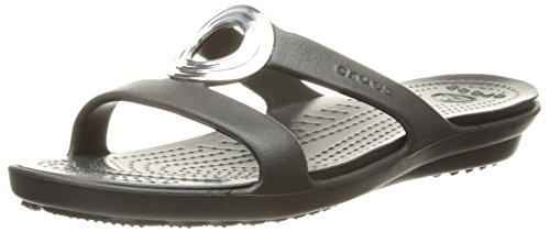 Crocs Women's Sanrah Beveled Circle Sandal, Black/Black, 9 M US by Crocs