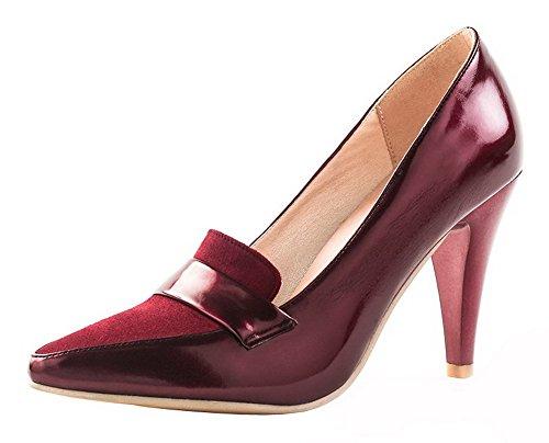 Amoonyfashion Donna Scarpe A Punta Tacco Alto A Punta Tinta Unita Pompe-scarpe Claret