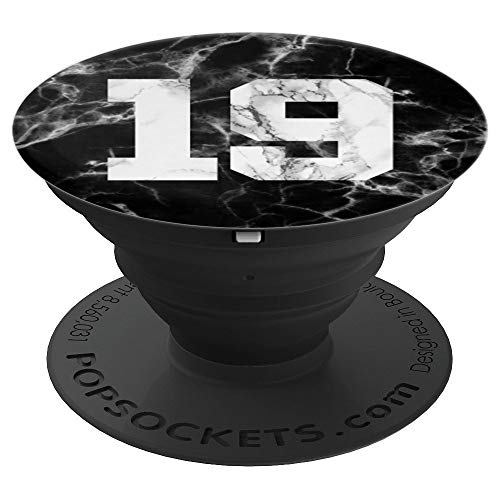 (Number 19 on Marble Baseball, Basketball, Football, Soccer - PopSockets Grip and Stand for Phones and Tablets)