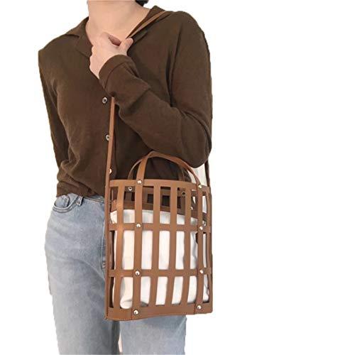 Hollow Bucket Bag Women H bag Large Capacity PU Leather Shoulder Bag Totes Bag coffee