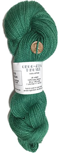 Artisan Yarns Hand Dyed Baby Alpaca Yarn, Solid Leaf Green, Dk Weight, 80 Grams, 200 Yards, 100% Baby Alpaca