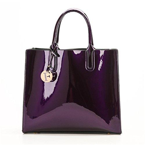 Brillante Charol sólido Bolsas para Mujer Señoras Simple Bolsos Casual bolsas bandoleras Sac del hombro un bolso principal rojo 30cmXLongitud máx.X50cm Purple