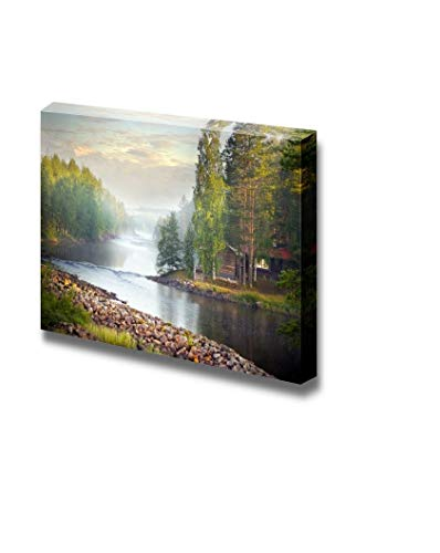 Gogobebe Canvas Wall Art Print Paintings - Fog Over a River in The Early Morning Stretched and Framed Ready to Hang - 16