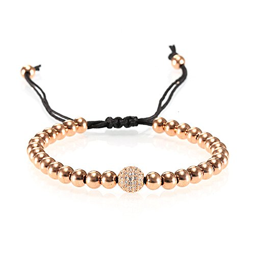- Yinan Jewelry Adjustable Nylon Black Rope String Stainless Steel Bead 6mm and a White Zircon Paved Ball Bracelet Rose Gold Plated
