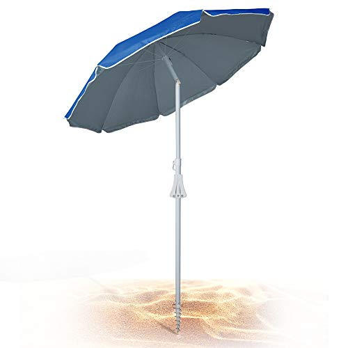 690GRAND Deluxe 6FT Beach Umbrella with Sand Anchor UPF50+ Sunshade Aluminum Poles Polyester Canopy Vents including Crank Tilt and Carry ()
