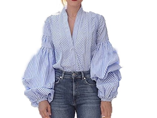 Fashion Plaid Lantern Sleeve Blouse Women's Tops Sexy deep V Neck Summer Shirt Female Long Sleeve Streetwear red Blue (X-Large, Blue) - Lantern Sleeve V-neck Top