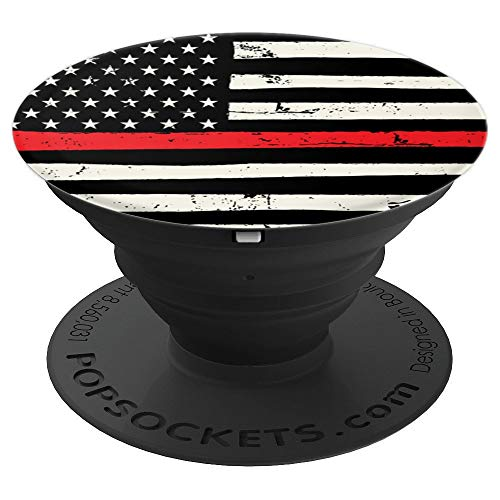 (Rose Gold Marble Lover Thin Red Line Firefighter black cool - PopSockets Grip and Stand for Phones and Tablets)