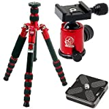 HORUSBENNU DSLR Traveler Camera Tripod M-2531T Red with Ball Head LX-28T Red and Case