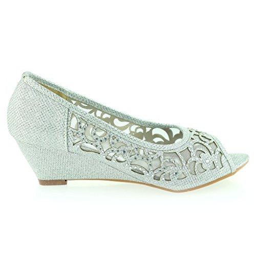 Frau Damen Abend Hochzeit Party Peep Toe Diamant Niedrige Keilabsatz Sandalen Braun Schuhe Größe 41 IA8u9M
