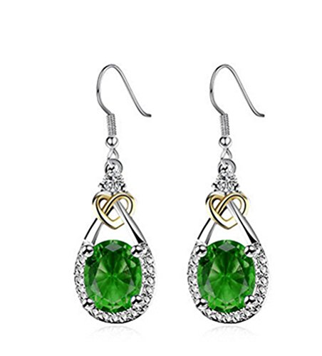 SunIfSnow Women Beautiful Electroplating Zircon Love-Shape Drop Earrings Green