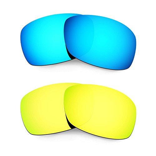 Hkuco Plus Mens Replacement Lenses For Oakley Hijinx Blue 24K Gold  Sunglasses Delicado e5d5cadf3e81