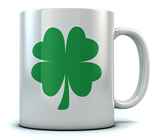 St. Patrick's Day Green Clover Coffee Mug Lucky Shamrock Sturdy Ceramic Mug, 11oz 15oz