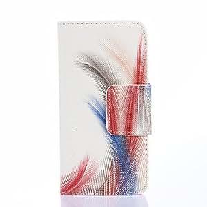 GX azul patrón de plumas rojas de la PU cuero caso de cuerpo completo con ranuras para tarjetas y se destacan caso para la galaxia a3