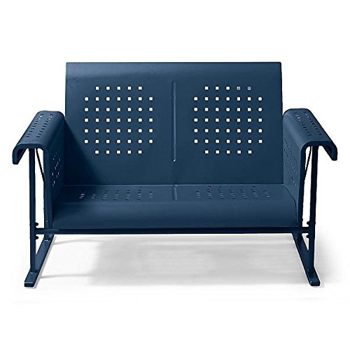 Vintage Collection Outdoor Patio Metal Glider Loveseat 2 Person Settee Dark Blue Collection Loveseat Glider