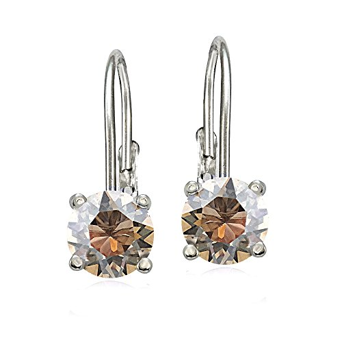 Bria Lou 925 Sterling Silver 6mm Round November Birthstone Color Leverback Drop Earrings Made with Swarovski Crystals (Round Earrings Drop)