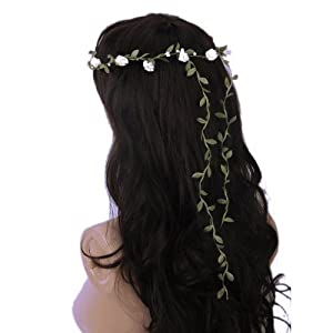 ReNext Rose Flowers Branch Festival Wedding Garland Head Wreath Crown Floral Halo Headpiece Photography Tool Adult Size (White and Green) 3