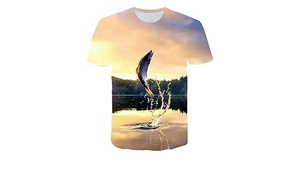 NSDX Camiseta 3D De Hombre Nueva///Camiseta para Hombre HD Digital Informal Camiseta 3D con Estampado De Pescado Camiseta para Hombre De Pescado O-Cuello Divertido Nueva Camiseta De Pesca