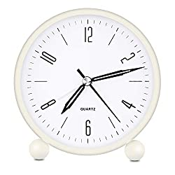 HeQiao Silent Metal Analog Table Alarm Clock with Night Light (Cream White)
