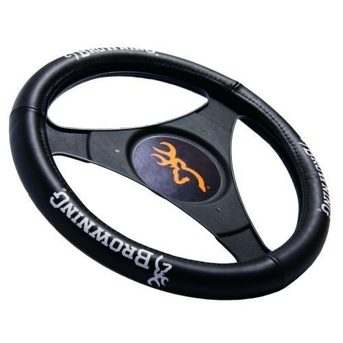 Browning Genuine Leather Steering Wheel Cover (Black Cover, White Logo, Sold Individually)