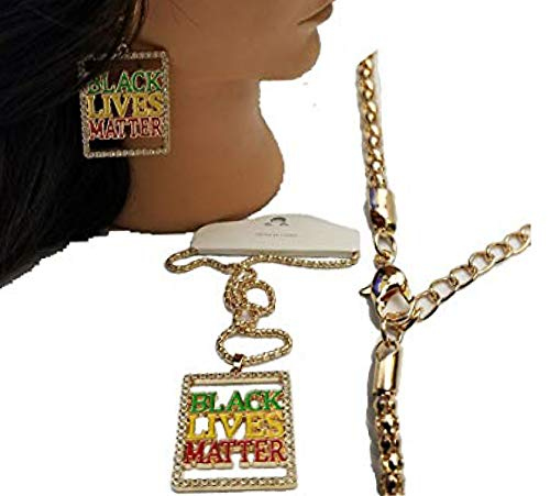 (Bling Iced Out Black Lives Pendant Necklace Earring Jewelry Set 24
