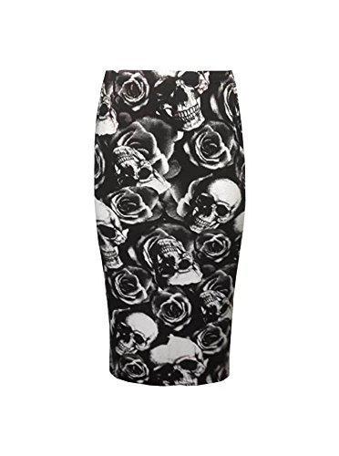 Gnrique haute pour DIVA s nouvelles dames Womens imprim camouflage Crane cossais lopard moulant Jupe crayon mi-longue Tube UK 8-22 Roses Tte de Mort