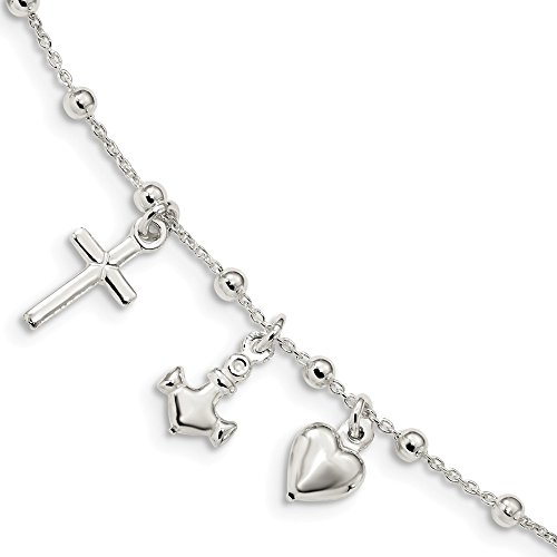 - 925 Sterling Silver 1 Inch Extension Cross Religious Heart Nautical Link Anchor Ship Wheel Mariners Bracelet 6 /love Bead Beadsed Fine Jewelry Gifts For Women For Her