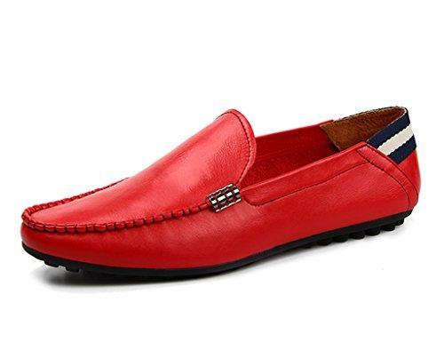 Zapatos Clásicos de Piel para Hombre Zapatos de cuero de los hombres de verano Estilo británico piel suave ocio Drive primavera ( Color : Azul , Tamaño : EU42/UK7.5 ) Rojo