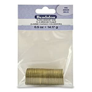 Beadalon Memory Wire Ring, Antique Brass, 1/2-Ounce