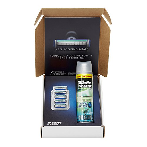 Gillette Mach3 Turbo Men's Razor Blade Refills, 5 Cartridge, 1 Shave Gel