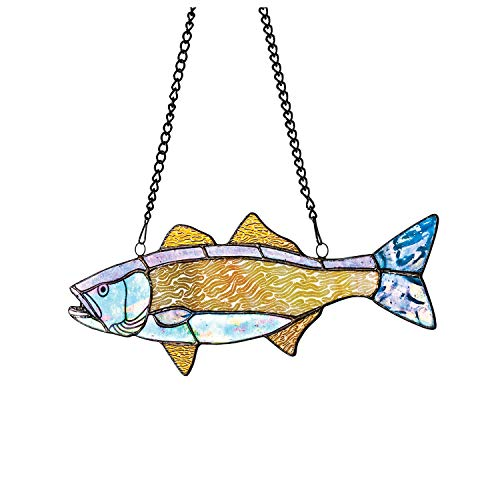 River of Goods Fish Window Panel - Stained Glass Art Glass Sun Catcher Hanging