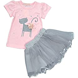 Weixinbuy Kids Girls Dresses Little Cat Printed Shirt + Tulle Skirt Clothing Set