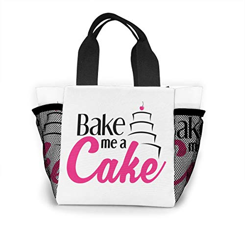Fjb11 Lunch Handbag with Water Bottle Holder for Women, Bake Me A Cake Printed Multipurpose Snack, Picnic Tote Bag -